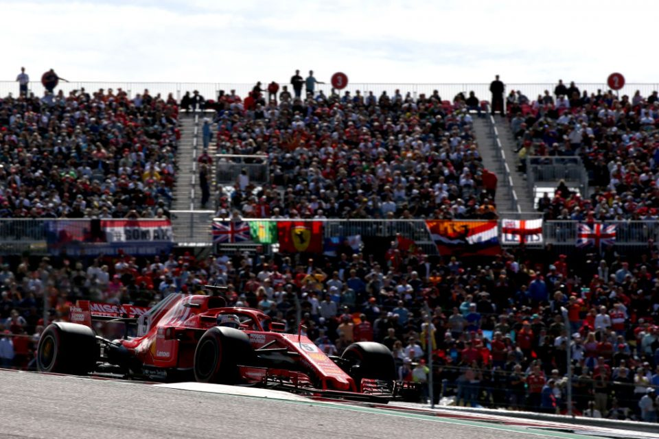 AUSTIN, TX - OCTOBER 21: Sebastian Vettel of Germany driving the (5) Scuderia Ferrari SF71H on track during the United States Formula One Grand Prix at Circuit of The Americas on October 21, 2018 in Austin, United States.  (Photo by Charles Coates/Getty Images)