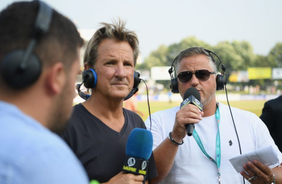 COLOMBO, SRI LANKA - NOVEMBER 26:  Mark Nicholas (c) and Darren Gough of Talksport radio pictured during Day Four of the Third Test match between Sri Lanka and England at Sinhalese Sports Club on November 26, 2018 in Colombo, Sri Lanka.  (Photo by Stu Forster/Getty Images)
