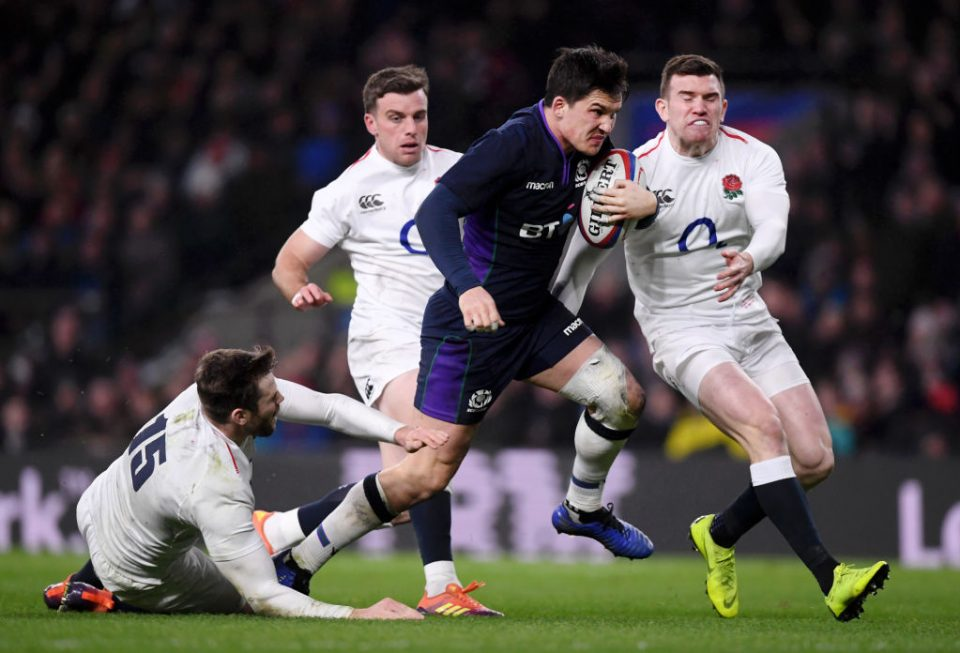 LONDON, ENGLAND - MARCH 16:  Sam Johnson of Scotland evades Elliot Daly, George Ford and Ben Spencer of England as he crosses to score their sixth try during the Guinness Six Nations match between England and Scotland at Twickenham Stadium on March 16, 2019 in London, England. (Photo by Laurence Griffiths/Getty Images)