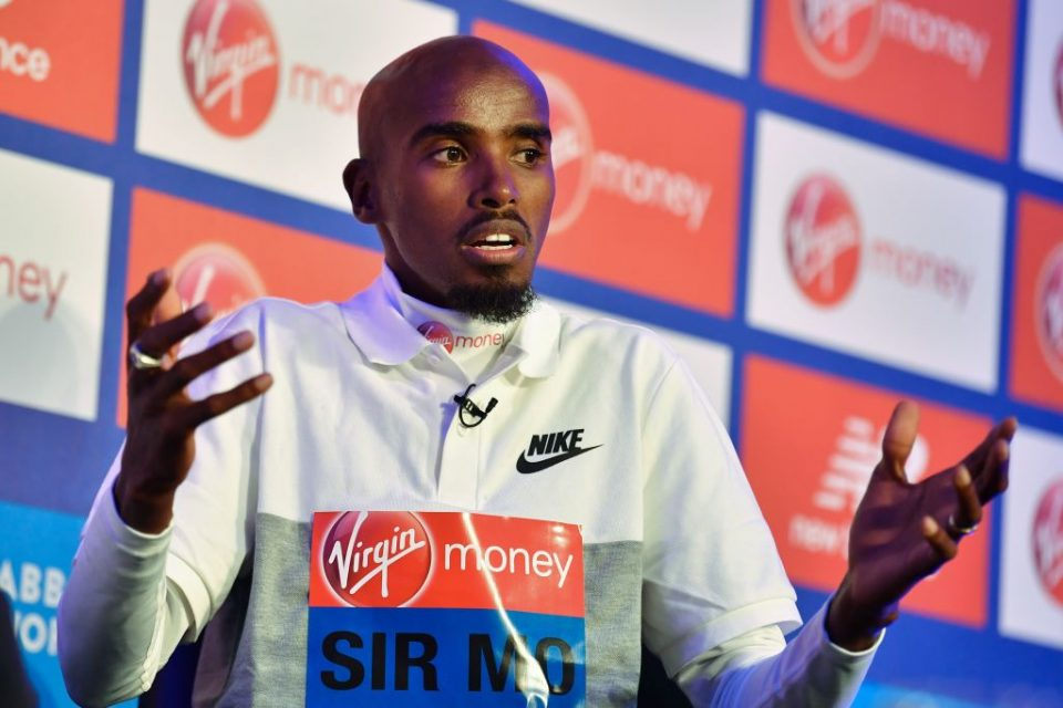 Men's elite runner Britain's Mo Farah speaks during a press conference following a photocall for the London marathon at Tower Bridge in central London on April 24, 2019. (Photo by Ben STANSALL / AFP)        (Photo credit should read BEN STANSALL/AFP/Getty Images)
