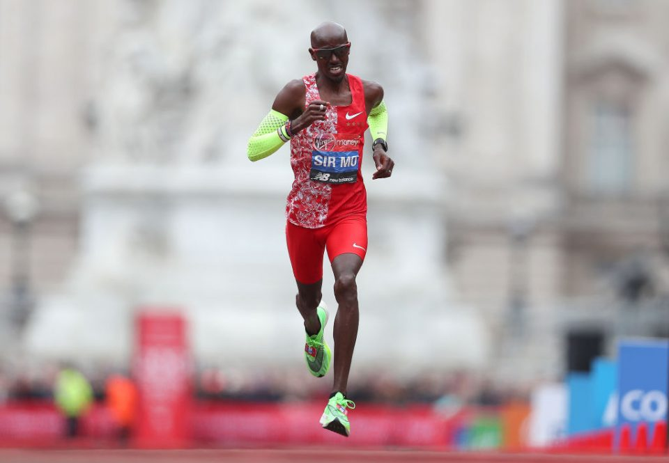 LONDON, ENGLAND - APRIL 28: Mo Farah of Great Britain runs towards the finish line during the Men's Elite race during the 2019 Virgin Money London Marathon in the United Kingdom on April 28, 2019 in London, England. (Photo by Naomi Baker/Getty Images)