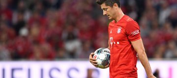 Bayern Munich's Polish forward Robert Lewandowski walks up to the penalty spot during the German First division Bundesliga football match FC Bayern Munich v Hertha Berlin in Munich, southern Germany, on August 16, 2019. (Photo by Christof STACHE / AFP) / DFL REGULATIONS PROHIBIT ANY USE OF PHOTOGRAPHS AS IMAGE SEQUENCES AND/OR QUASI-VIDEO (Photo credit should read CHRISTOF STACHE/AFP/Getty Images)
