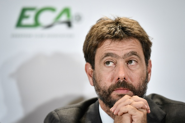 Chairman of the European Club Association (ECA) Andrea Agnelli gives a press conference, on September 10, 2019 in Geneva, at the end of the general assembly of the organization representing the interests of professional association football clubs in UEFA. (Photo by FABRICE COFFRINI / AFP)        (Photo credit should read FABRICE COFFRINI/AFP/Getty Images)