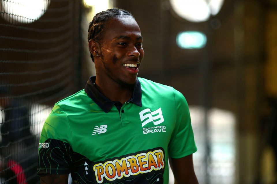 LONDON, ENGLAND - OCTOBER 03: Jofra Archer of Southern Brave one of the eight new mens and womens teams that will be competing in new 100 ball cricket competition, The Hundred, starting in summer 2020 during The Hundred Launch on October 3, 2019 in London, England. (Photo by Charlie Crowhurst/Getty Images for ECB)