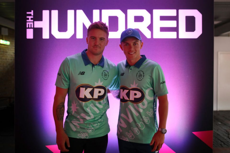 LONDON, ENGLAND - OCTOBER 03: Jason Roy and Sam Curran of Oval Invincibles one of the eight new mens and womens teams that will be competing in new 100 ball cricket competition, The Hundred, starting in summer 2020 during The Hundred Launch on October 3, 2019 in London, England. (Photo by Charlie Crowhurst/Getty Images for ECB)
