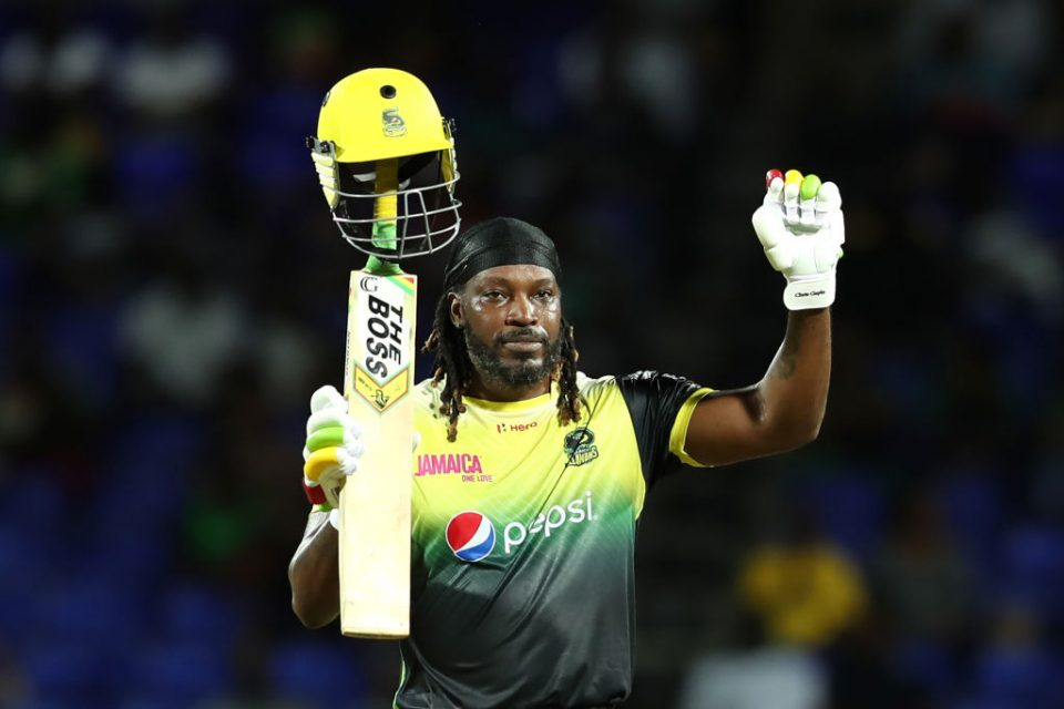 BASSETERRE, ST KITTS, SAINT KITTS AND NEVIS - SEPTEMBER 10: In this handout image provided by CPL T20, Chris Gayle of Jamaica Tallawahs brings up his century during the Hero Caribbean Premier League match between St Kitts Nevis Patriots and Jamaica Tallawahs at Warner Park Sporting Complex on September 10, 2019 in Basseterre, St Kitts, Saint Kitts and Nevis. (Photo by Ashley Allen - CPL T20/CPL T20 via Getty Images )