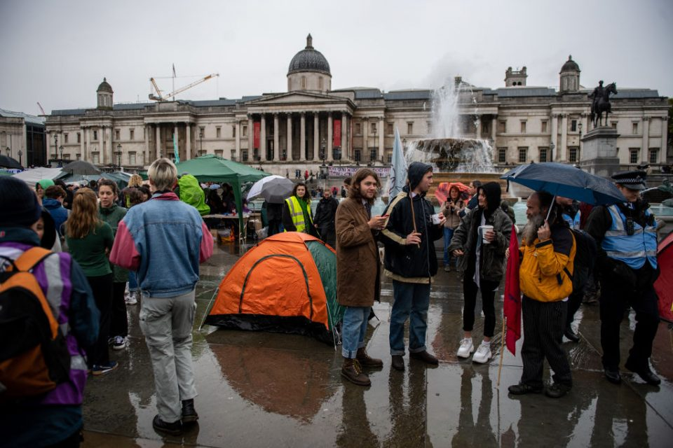Extinction Rebellion activists have camped at Trafalgar Square for a week as police continue to make arrests (Getty)