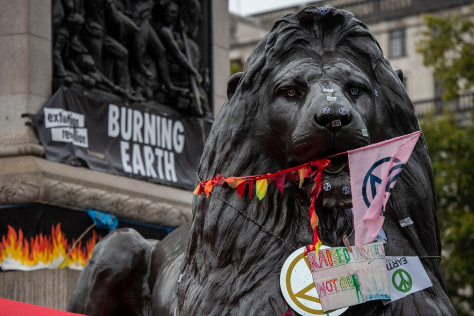 Extinction Rebellion protest at Trafalgar Square (Getty)