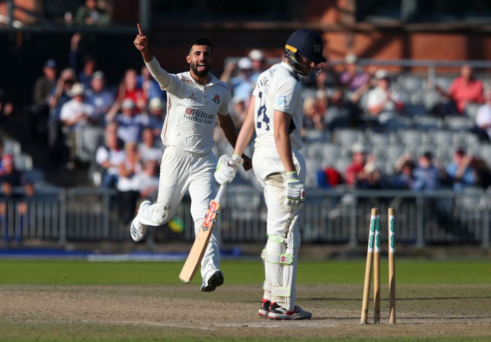 MANCHESTER, ENGLAND - SEPTEMBER 19:  Saqib Mahmood of Lancashire celebrates after taking the wicket of Martin Andersson of Middlesex during the Specsavers County Championship Division Two match between Lancashire and Middlesex at Emirates Old Trafford on September 19, 2019 in Manchester, England. (Photo by Alex Livesey/Getty Images)