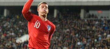 England's midfielder Ross Barkley celebrates after scoring his team's third goal during the Euro 2020 Group A football qualification match between Bulgaria and England at the Vassil Levski Stadium in Sofia on October 14, 2019. (Photo by NIKOLAY DOYCHINOV / AFP) (Photo by NIKOLAY DOYCHINOV/AFP via Getty Images)