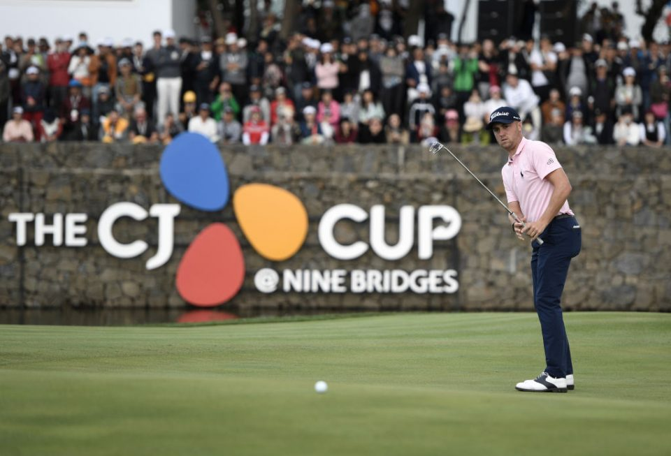 Justin Thomas of the US putts on the 18th hole during the final round of the CJ Cup golf tournament at Nine Bridges golf club in Jeju Island on October 20, 2019. (Photo by Jung Yeon-je / AFP) (Photo by JUNG YEON-JE/AFP via Getty Images)