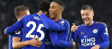 LEICESTER, ENGLAND - SEPTEMBER 29: Wilfred Ndidi of Leicester City celebrates with teammates after scoring his team's fifth goal during the Premier League match between Leicester City and Newcastle United at The King Power Stadium on September 29, 2019 in Leicester, United Kingdom. (Photo by Nathan Stirk/Getty Images)
