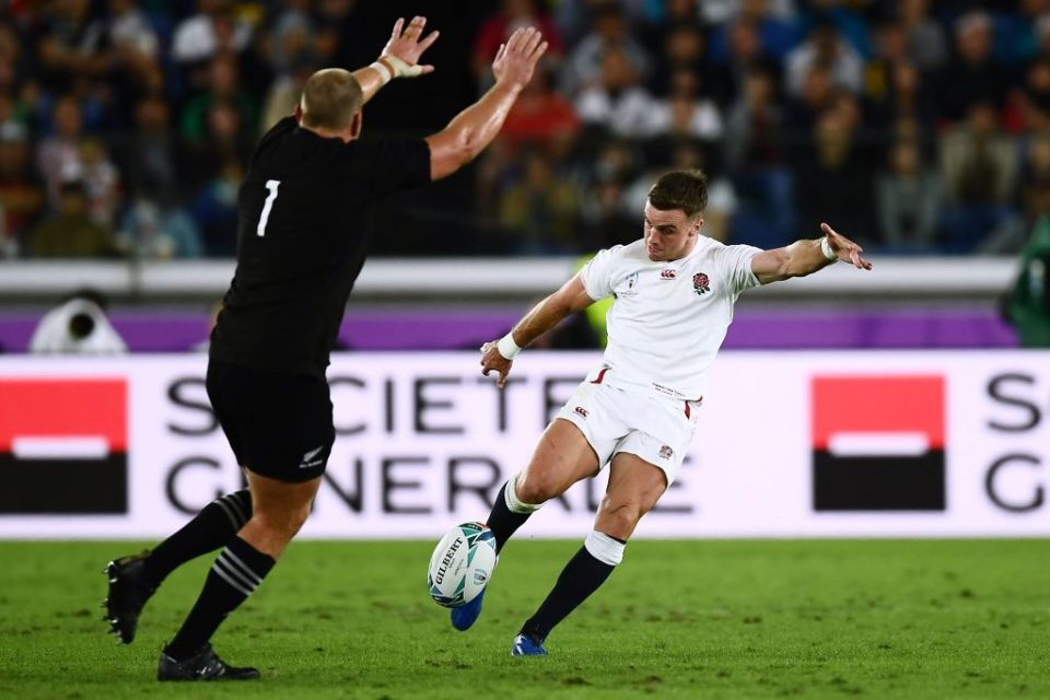 England's fly-half George Ford (R) kicks the ball beside New Zealand's prop Joe Moody during the Japan 2019 Rugby World Cup semi-final match between England and New Zealand at the International Stadium Yokohama in Yokohama on October 26, 2019. (Photo by CHARLY TRIBALLEAU / AFP) (Photo by CHARLY TRIBALLEAU/AFP via Getty Images)
