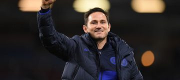 Chelsea's English head coach Frank Lampard celebrates victory at the end of the English Premier League football match between Burnley and Chelsea at Turf Moor in Burnley, north west England on October 26, 2019. (Photo by Oli SCARFF / AFP) / RESTRICTED TO EDITORIAL USE. No use with unauthorized audio, video, data, fixture lists, club/league logos or 'live' services. Online in-match use limited to 120 images. An additional 40 images may be used in extra time. No video emulation. Social media in-match use limited to 120 images. An additional 40 images may be used in extra time. No use in betting publications, games or single club/league/player publications. / (Photo by OLI SCARFF/AFP via Getty Images)