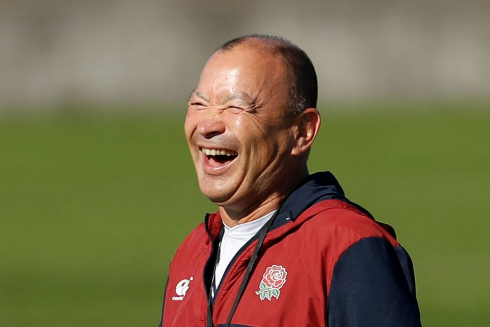 England's head coach Eddie Jones laughs during a training session at Fuchu Asahi Football Park in Tokyo on October 30, 2019, ahead of their Japan 2019 Rugby World Cup final against South Africa. (Photo by Odd ANDERSEN / AFP) (Photo by ODD ANDERSEN/AFP via Getty Images)