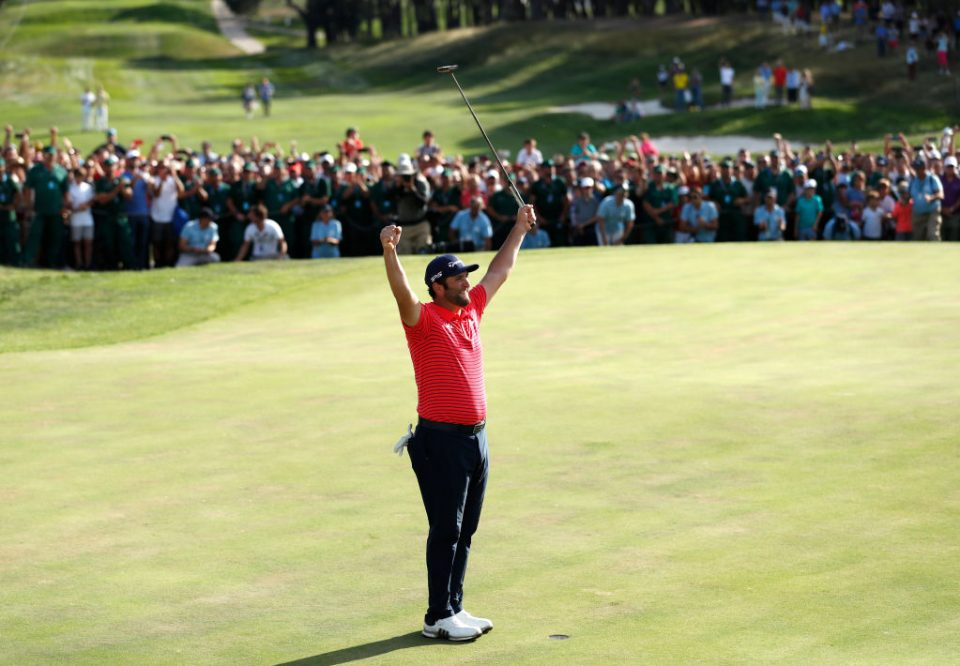 MADRID, SPAIN - OCTOBER 06: Jon Rahm of Spain celebrates winning the Open de Espana during Day four of the Open de Espana at Club de Campo Villa de Madrid on October 06, 2019 in Madrid, Spain. (Photo by Luke Walker/Getty Images)