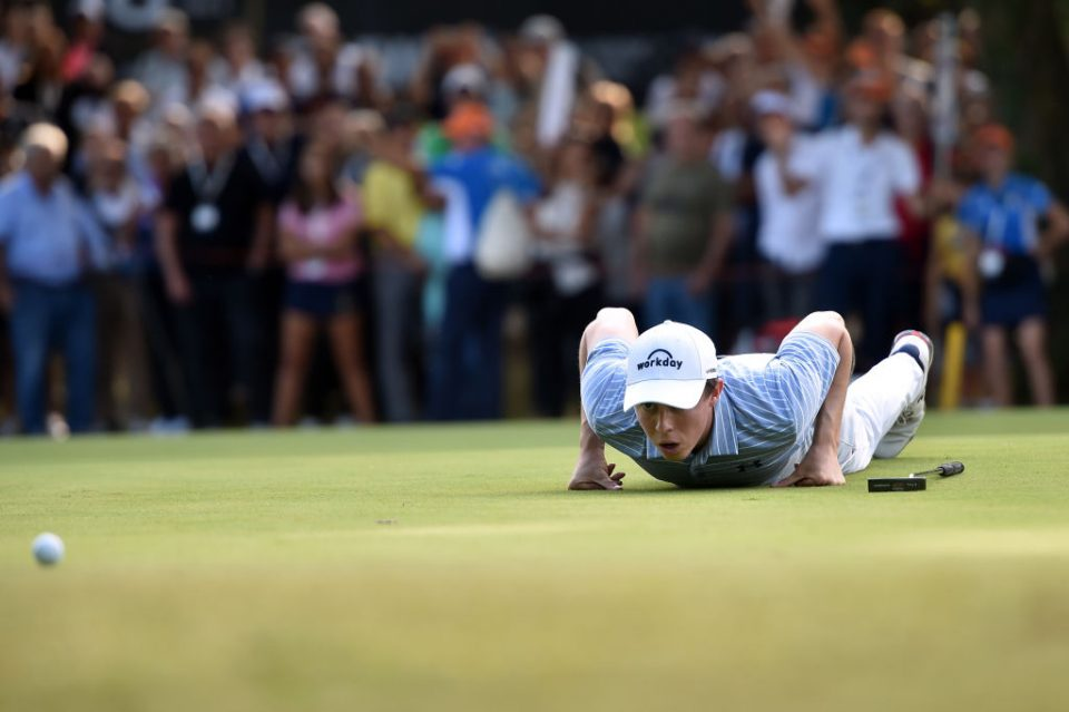 ROME, ITALY - OCTOBER 13: Matthew Fitzpatrick of England lines up a putt on the 15th green during Day Four of the Italian Open at Olgiata Golf Club on October 13, 2019 in Rome, Italy. (Photo by Tullio M. Puglia/Getty Images)