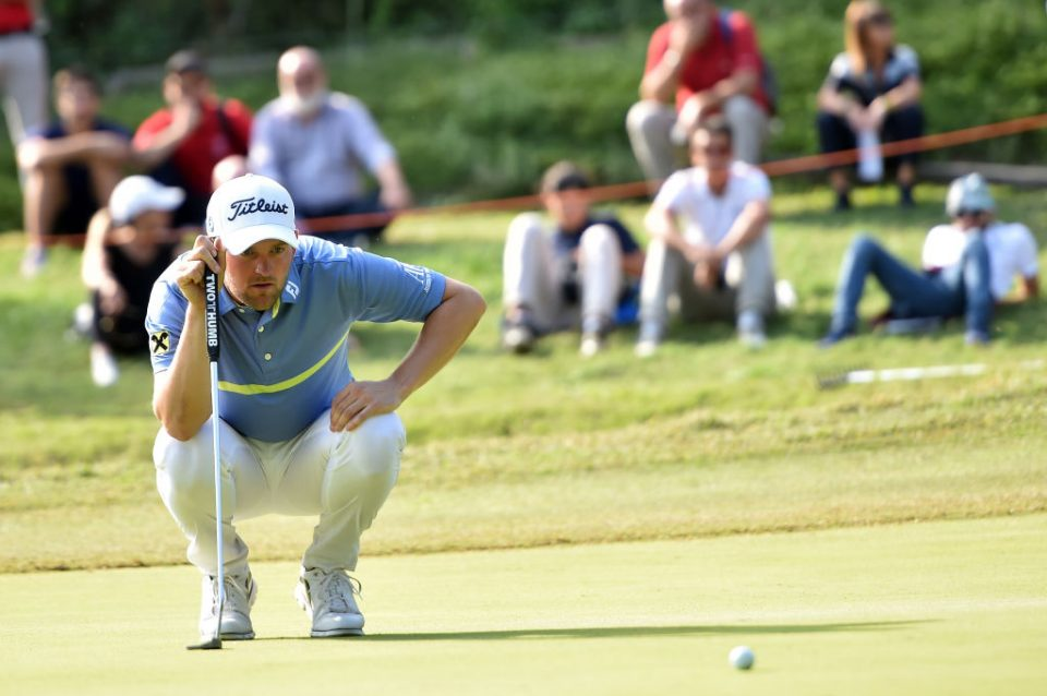 ROME, ITALY - OCTOBER 13: Bernd Wiesberger of Austria lines up a putt on 14th green during Day Four of the Italian Open at Olgiata Golf Club on October 13, 2019 in Rome, Italy. (Photo by Tullio M. Puglia/Getty Images)