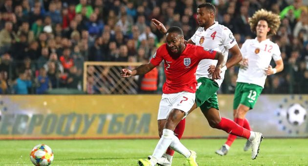 SOFIA, BULGARIA - OCTOBER 14: Raheem Sterling of England scores his sides fifth goal during the UEFA Euro 2020 qualifier between Bulgaria and England on October 14, 2019 in Sofia, Bulgaria. (Photo by Catherine Ivill/Getty Images)