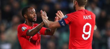 SOFIA, BULGARIA - OCTOBER 14: Raheem Sterling of England celebrates with Harry Kane after he scores his sides fifth goal during the UEFA Euro 2020 qualifier between Bulgaria and England on October 14, 2019 in Sofia, Bulgaria. (Photo by Catherine Ivill/Getty Images)