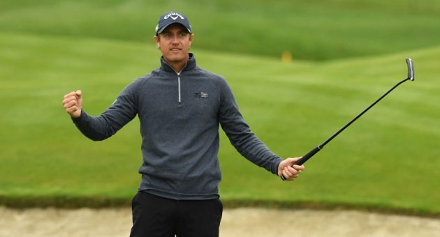 PARIS, FRANCE - OCTOBER 20: Nicolas Colsaerts of Belgium celebrates on the 18th green during Day 4 of the Open de France at Le Golf National on October 20, 2019 in Paris, France. (Photo by Ross Kinnaird/Getty Images)