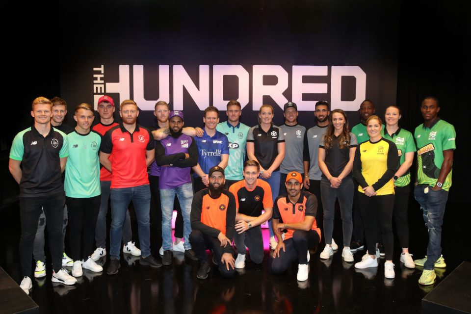 ISLEWORTH, ENGLAND - OCTOBER 20: Players for the eight teams in The Hundred line up following The Hundred Draft, broadcast live from Sky Studios on October 20, 2019 in Isleworth, England. (Photo by Christopher Lee/Getty Images for ECB)