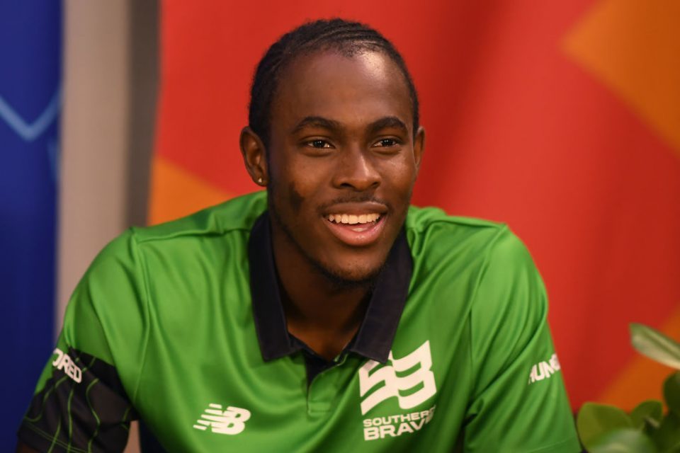ISLEWORTH, ENGLAND - OCTOBER 20: Jofra Archer of Southern Brave looks on during The Hundred Draft at Sky Studios on October 20, 2019 in Isleworth, England. (Photo by Alex Davidson/Getty Images for ECB)