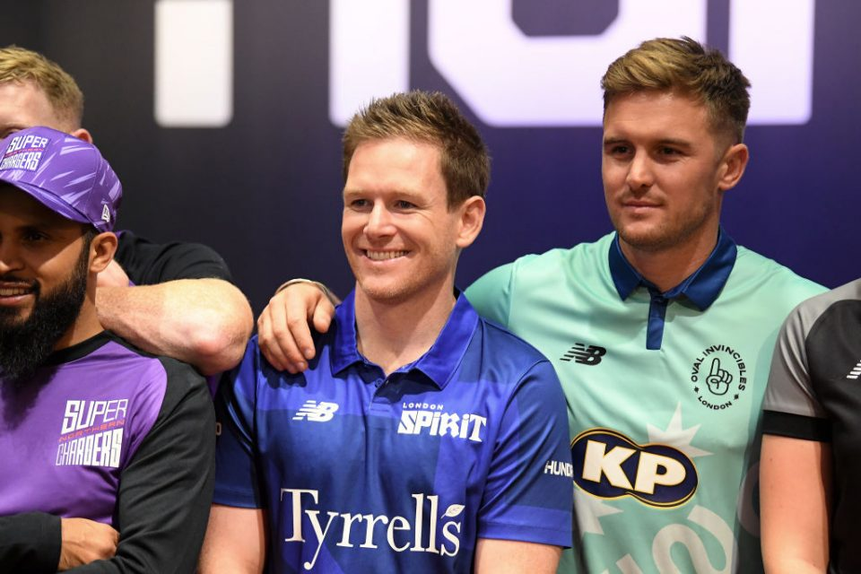 ISLEWORTH, ENGLAND - OCTOBER 20: Eoin Morgan of London Spirit and Jason Roy of Oval Invincibles look on as players for the eight teams in The Hundred line up following The Hundred Draft, broadcast live from Sky Studios on October 20, 2019 in Isleworth, England. (Photo by Alex Davidson/Getty Images for ECB)