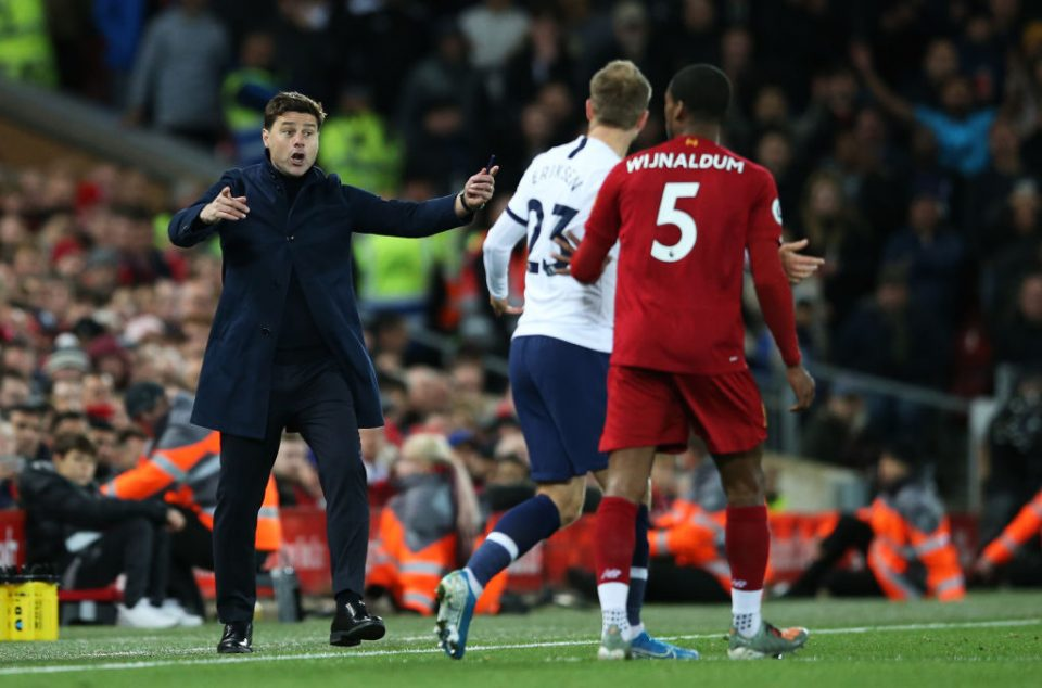 LIVERPOOL, ENGLAND - OCTOBER 27:  Mauricio Pochettino, Manager of Tottenham Hotspur reacts towards Christian Eriksen of Tottenham Hotspur during the Premier League match between Liverpool FC and Tottenham Hotspur at Anfield on October 27, 2019 in Liverpool, United Kingdom. (Photo by Jan Kruger/Getty Images)