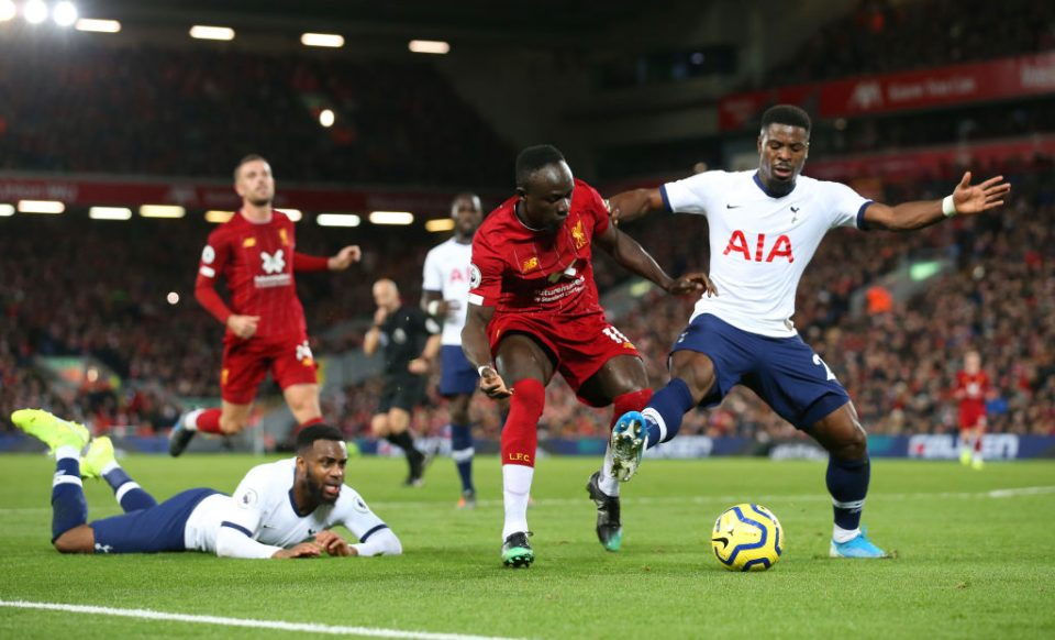 LIVERPOOL, ENGLAND - OCTOBER 27:  Sadio Mane of Liverpool battles with Serge Aurier and Danny Rose of Tottenham Hotspur during the Premier League match between Liverpool FC and Tottenham Hotspur at Anfield on October 27, 2019 in Liverpool, United Kingdom. (Photo by Jan Kruger/Getty Images)