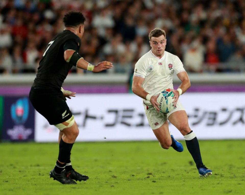YOKOHAMA, JAPAN - OCTOBER 26: George Ford of England runs with the ball during the Rugby World Cup 2019 Semi-Final match between England and New Zealand at International Stadium Yokohama on October 26, 2019 in Yokohama, Kanagawa, Japan. (Photo by David Rogers/Getty Images)