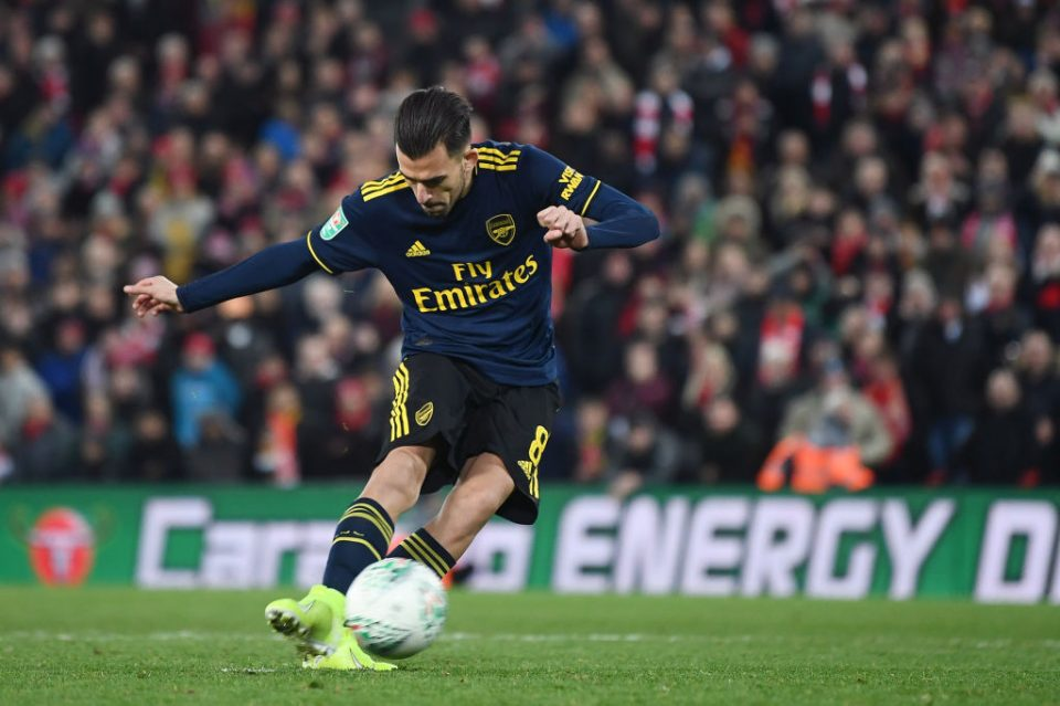 LIVERPOOL, ENGLAND - OCTOBER 30: Dani Ceballos of Arsenal misses his sides fourth penalty during the penalty shoot out during the Carabao Cup Round of 16 match between Liverpool and Arsenal at Anfield on October 30, 2019 in Liverpool, England. (Photo by Laurence Griffiths/Getty Images)