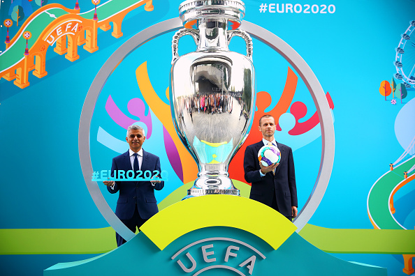 LONDON, ENGLAND - SEPTEMBER 21: (L-R) Mayor of London Sadiq Khan and UEFA President Aleksander Ceferin pose during the UEFA EURO 2020 launch event for London at City Hall on September 21, 2016 in London, England. (Photo by Dan Istitene/Getty Images)