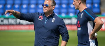CARDIFF, WALES - AUGUST 05: Darren Gough gestures with Jack Blatherwick (R) during England U19 cricket training at the SSE Swalec Stadium on August 5, 2017 in Cardiff, Wales. The Royal International Series starts on Monday with a series of five one-day matches against India. (Photo by Matthew Horwood/Getty Images)