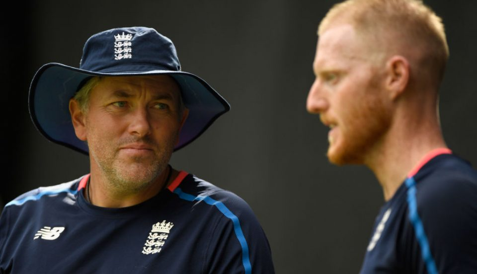 HAMILTON, NEW ZEALAND - FEBRUARY 23: England player Ben Stokes (r) chats with fast bowling coach Chris Silverwood in the nets during an England training session ahead of the First ODI v New Zealand Black Caps at Seddon Park on February 23, 2018 in Hamilton, New Zealand. (Photo by Stu Forster/Getty Images)