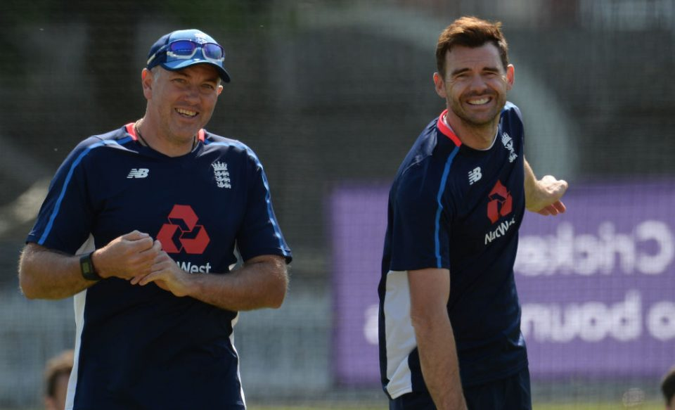 LONDON, ENGLAND - MAY 22 : Chris Silverwood and James Anderson of England look on during a training session before the 1st Test match between England and Pakistan at Lord's cricket ground on May 22, 2018 in London, England. (Photo by Philip Brown/Getty Images)