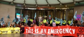 Extinction Rebellion protesters blockade BBC Broadcasting House on fifth day of London protests