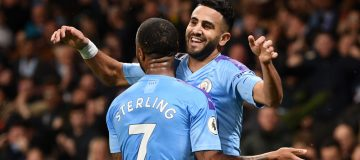 Riyad Mahrez and Raheem Sterling of Manchester City