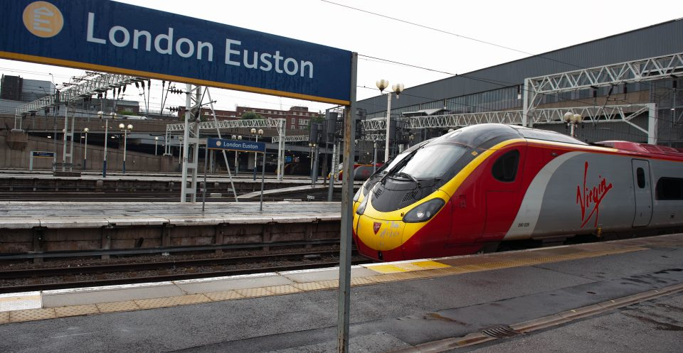 A Virgin train stands at Euston station