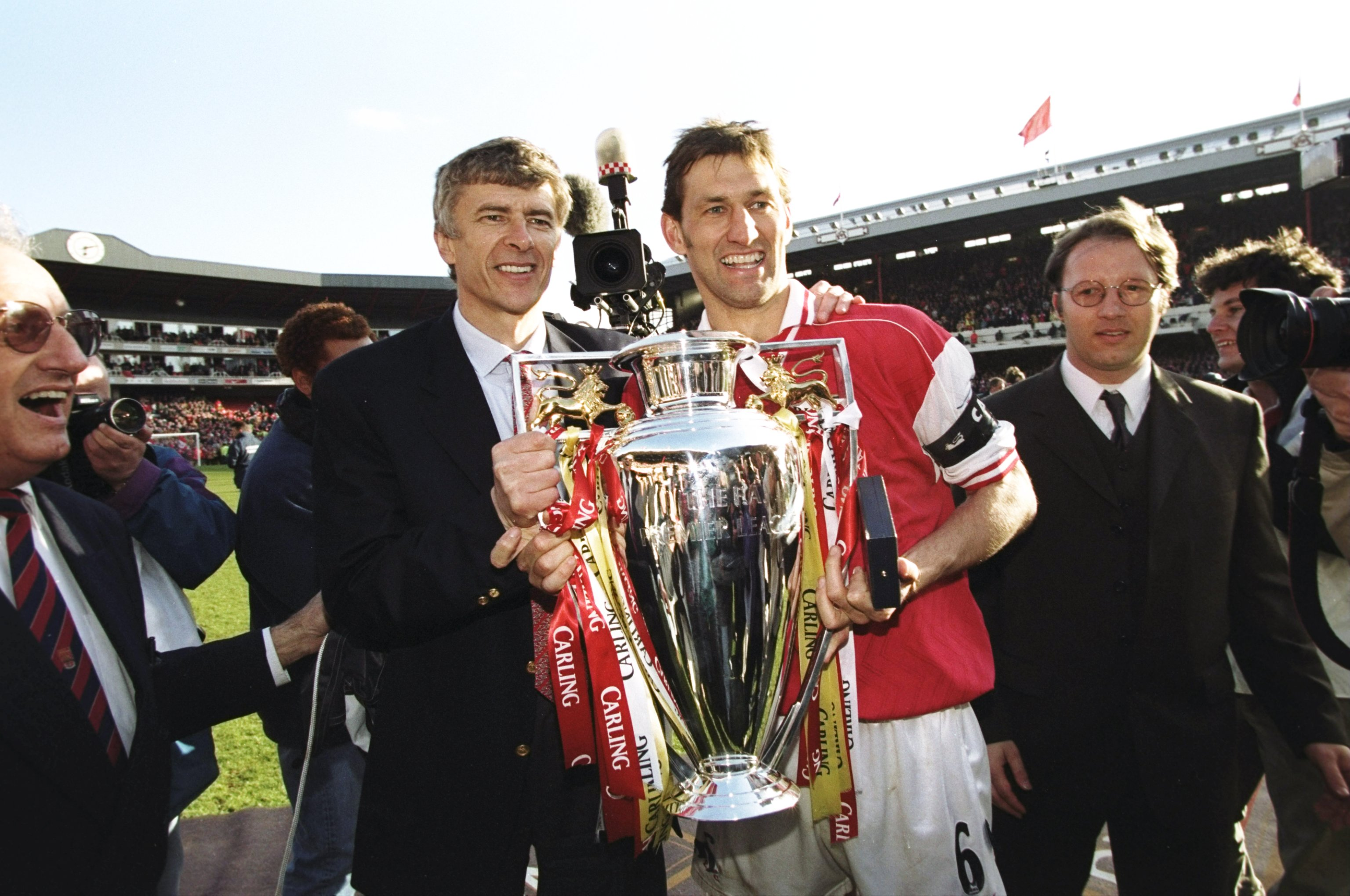 Arsenal manager Arsene Wenger and club captain Tony Adams
