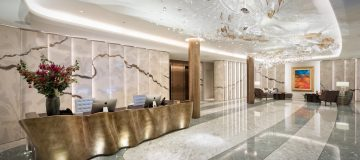 The lobby of 73 Brook Street, headquarters of luxury property firm Clivedate