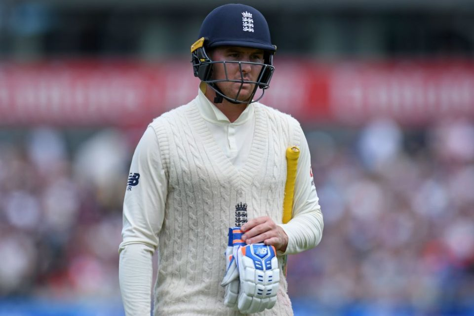 England's Jason Roy reacts as he walks back to the pavilion after losing his wicket for 31 during play on the fifth day of the fourth Ashes cricket Test match between England and Australia at Old Trafford in Manchester, north-west England on September 8, 2019. (Photo by Oli SCARFF / AFP) / RESTRICTED TO EDITORIAL USE. NO ASSOCIATION WITH DIRECT COMPETITOR OF SPONSOR, PARTNER, OR SUPPLIER OF THE ECB        (Photo credit should read OLI SCARFF/AFP via Getty Images)