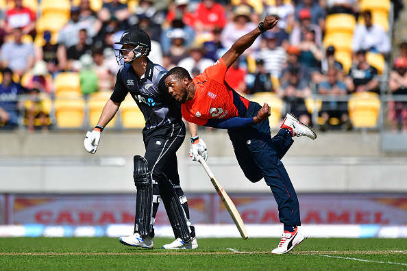 England's Chris Jordan bowls during the Twenty20 cricket match between New Zealand and England at Westpac Stadium in Wellington on November 3, 2019. (Photo by Marty MELVILLE / AFP) (Photo by MARTY MELVILLE/AFP via Getty Images)