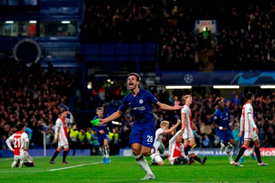 Chelsea's Spanish defender Cesar Azpilicueta (C) celebrates after thinking he's scored their fifth goal but it is disallowed by the VAR (Video Assistant Referee) during the UEFA Champion's League Group H football match between Chelsea and Ajax at Stamford Bridge in London on November 5, 2019. (Photo by Adrian DENNIS / AFP) (Photo by ADRIAN DENNIS/AFP via Getty Images)