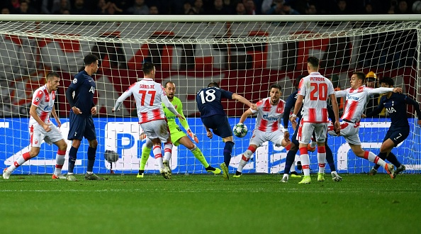Tottenham Hotspur's Argentinian midfielder Giovani Lo Celso (C) shoots and scores his team's first goal during the UEFA Champions League Group B football match between Red Star Belgrade (Crvena Zvezda) and Tottenham Hotspur at the Rajko Mitic stadium in Belgrade, on November 6, 2019. (Photo by ANDREJ ISAKOVIC / AFP) (Photo by ANDREJ ISAKOVIC/AFP via Getty Images)