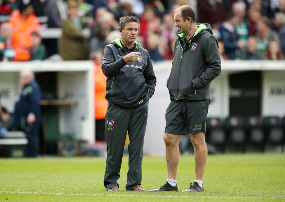 Leicester Tigers head coach Geordan Murphy and attack coach Mike Ford