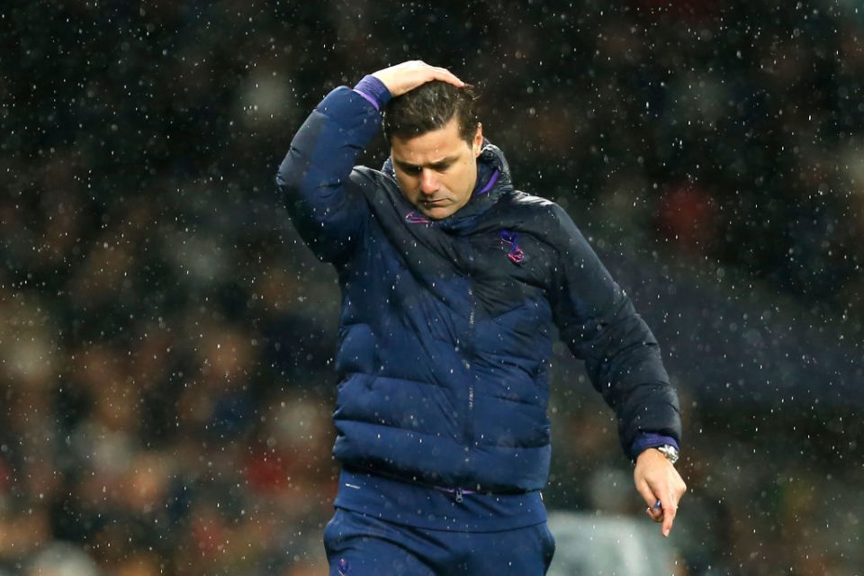 Tottenham Hotspur's Argentinian head coach Mauricio Pochettino reacts during the English Premier League football match between Tottenham Hotspur and Sheffield United at Tottenham Hotspur Stadium in London, on November 9, 2019. (Photo by Ian KINGTON / AFP) / RESTRICTED TO EDITORIAL USE. No use with unauthorized audio, video, data, fixture lists, club/league logos or 'live' services. Online in-match use limited to 120 images. An additional 40 images may be used in extra time. No video emulation. Social media in-match use limited to 120 images. An additional 40 images may be used in extra time. No use in betting publications, games or single club/league/player publications. /  (Photo by IAN KINGTON/AFP via Getty Images)