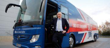 Boris unveils Brexit-branded election battle bus