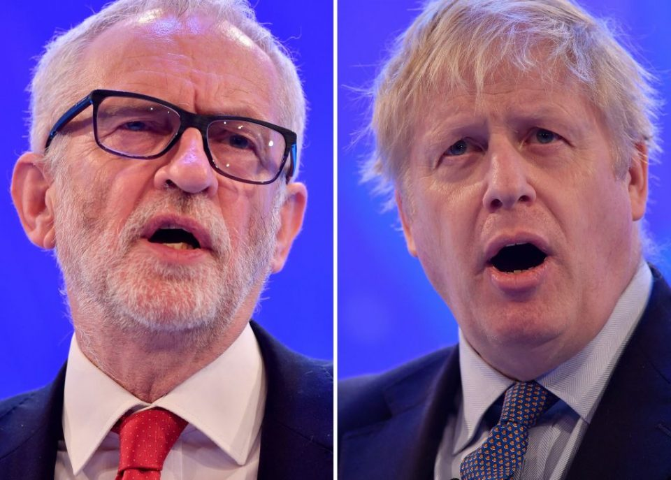 Image result for tv debate corbyn and johnson looking demented