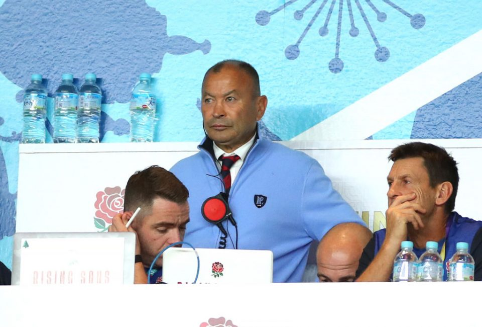 YOKOHAMA, JAPAN - NOVEMBER 02:  Eddie Jones, Head Coach of England looks on from the stands during the Rugby World Cup 2019 Final between England and South Africa at International Stadium Yokohama on November 02, 2019 in Yokohama, Kanagawa, Japan. (Photo by Cameron Spencer/Getty Images)